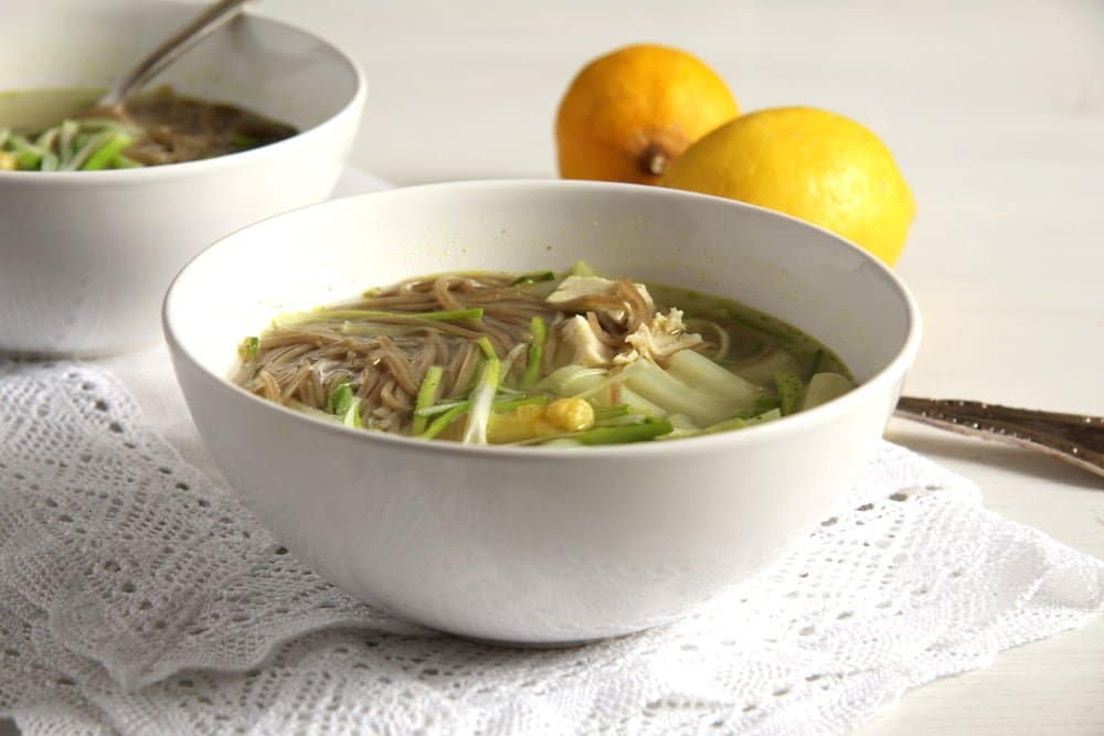 asparagus chicken Asparagus Chicken Noodle Soup with Leeks and Peas