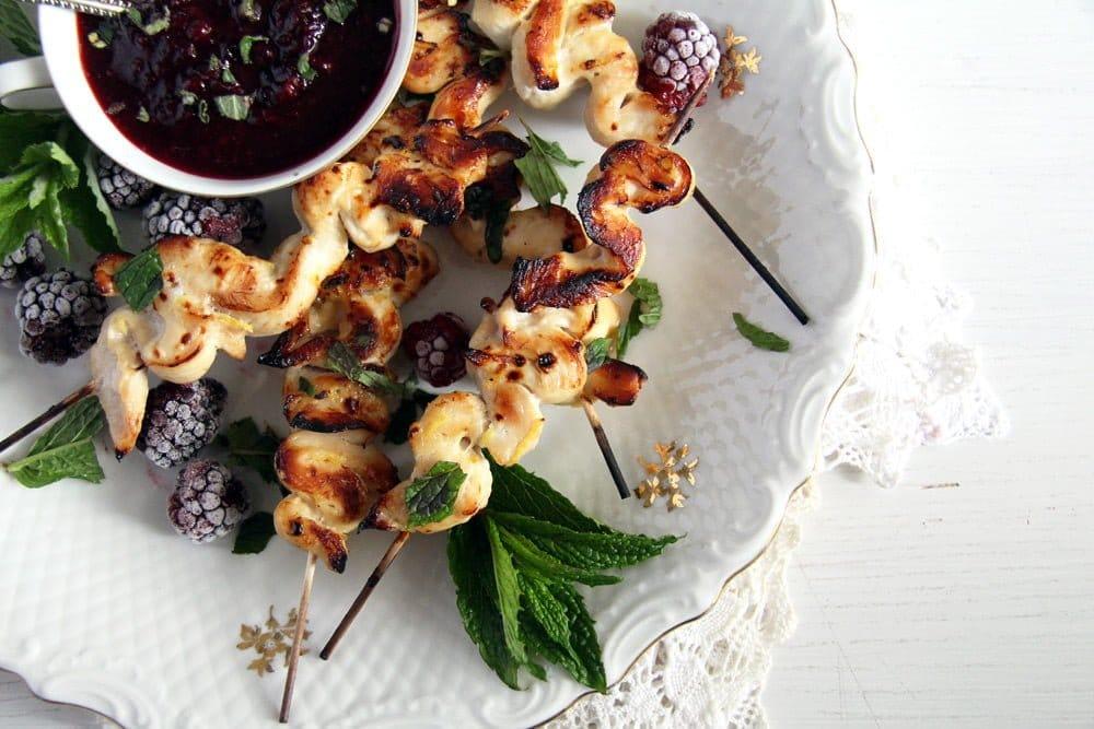 blackberry sauce chicken Chicken Breast Skewers with Blackberry Sauce